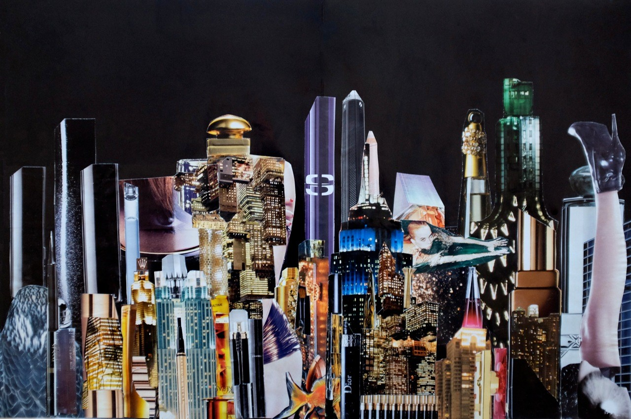 Night Beauty #2 - Handcut Paper Collage  © Edel Seebauer