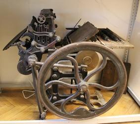 Buchdruckmaschine aus der Schausammlung des Bezirksmuseums Alsergrund (ALSEUM)