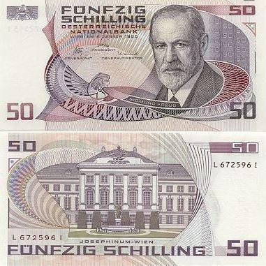 Die 50-Schilling-Note zeigte doppelten Bezug zum Alsergrund: Sigmund Freud und das Josephinum