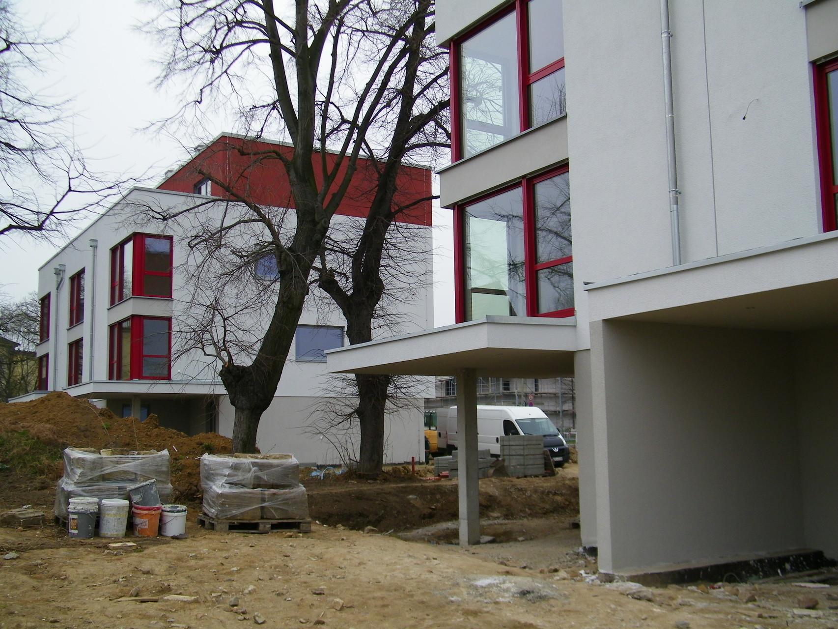 Neubau Wohnhausgruppe Dresden, Südhöhe, Gartenseite (2014)