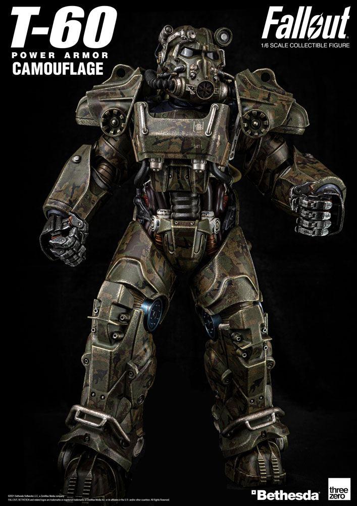 T-60 Camouflage Power 1/6 Armor Fallout Video Game Actionfigur 37cm Threezero