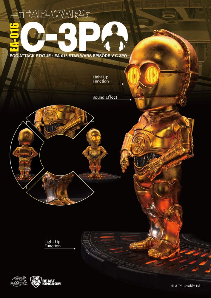 C-3PO Star Wars Episode 13cm Egg Attack Led & Sound Resin Statue Beast Kingdom