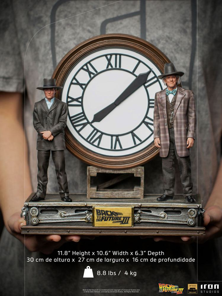 Marty and Doc at the Clock 1/10 Zurück in die Zukunft III Deluxe Art Scale Statue 30cm Diorama Iron Studios