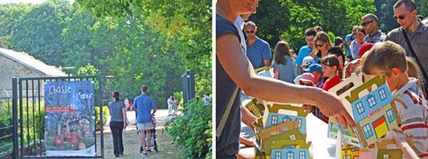 町の植物園でイースターの「卵狩り」/子供達には、町内商店会からチョコレートの卵を入れるカゴがわりの折りたたみ式の箱がプレゼントされる。