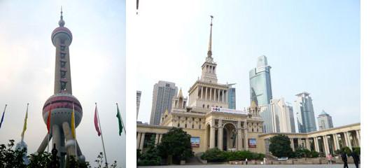 ▲左)プードンサイドのテレビ塔 、右)上海国際展示場