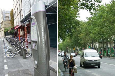 左:ハンドルに置き場地図案内。/右:適宜な運動がわりの自転車も、折角作られた自転車道でなく、車道脇を走るのでかなり危ない。(Bd.  Beaumarchais)