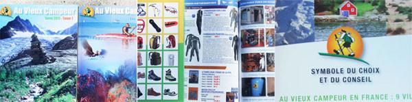 左:カタログの表紙、中央:カタログの内容、右:店舗のシンボルマーク