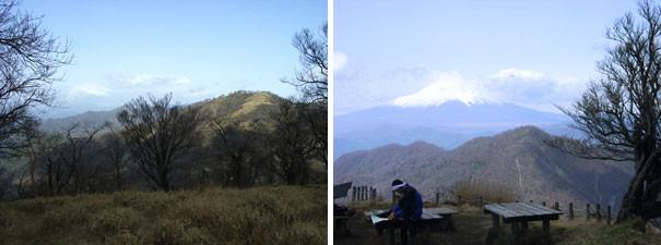 左:丹沢山頂上 右:富士山がくっきり