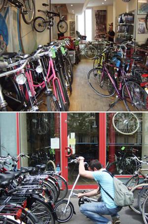 上:バスチーユ近くの自転車屋/下:Vélib'のおかげで、さまざまな型の自転車が復活して盛況。