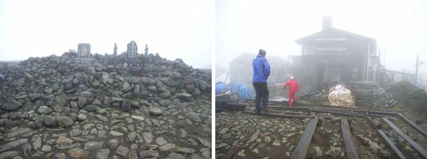 左:山頂の祠 右:工事中の尊仏山荘