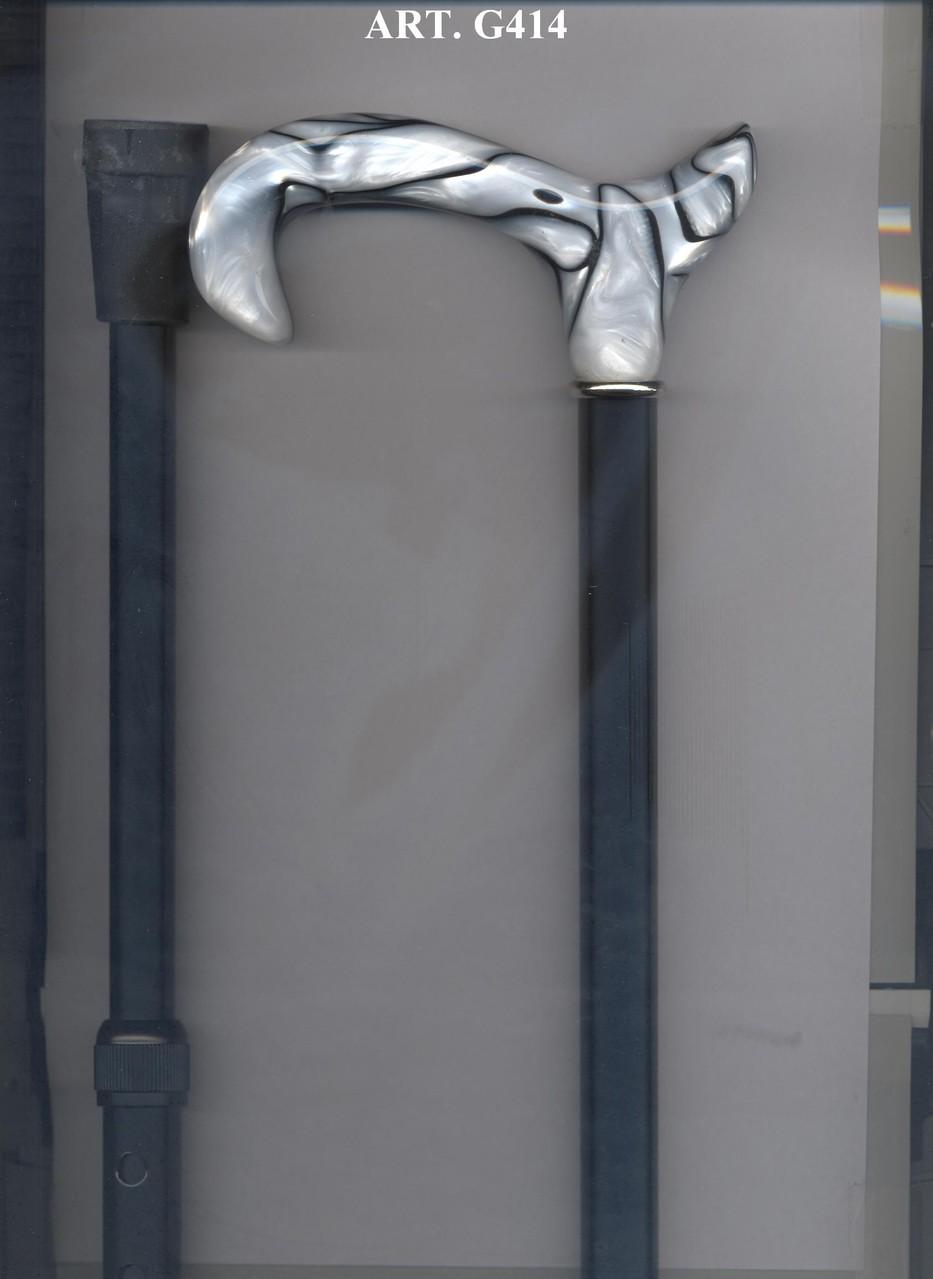 G414 Béquille télescopique alu noir poignée blanc & noir marbrée
