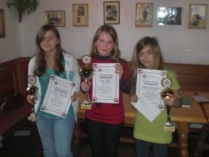 """Das """"Treppchen"""" der U12-Mädchen. V.l.n.r.: Marie Oberhofer (3.), Sindy Kail (1.) und Dilan Hacklinger (2.)"""