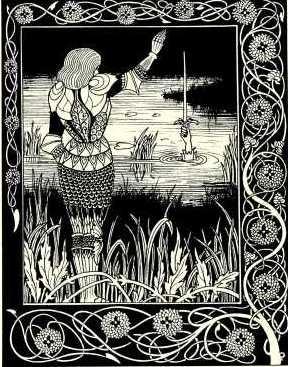 Bedivere restituant Excalibur à la Dame du Lac.