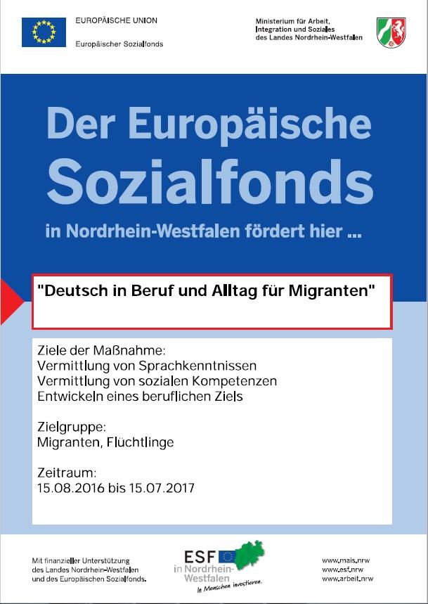 Plakat für Sprachkurse in Siegen Achenbach von 15.8.2016 bis 15.7.2017