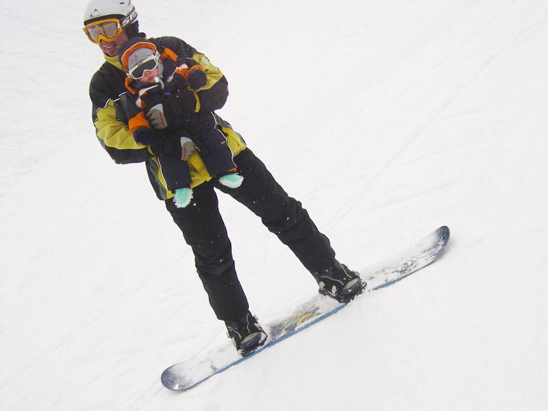 Und dann durfte ich sogar mit dem Snowboard mitfahren!