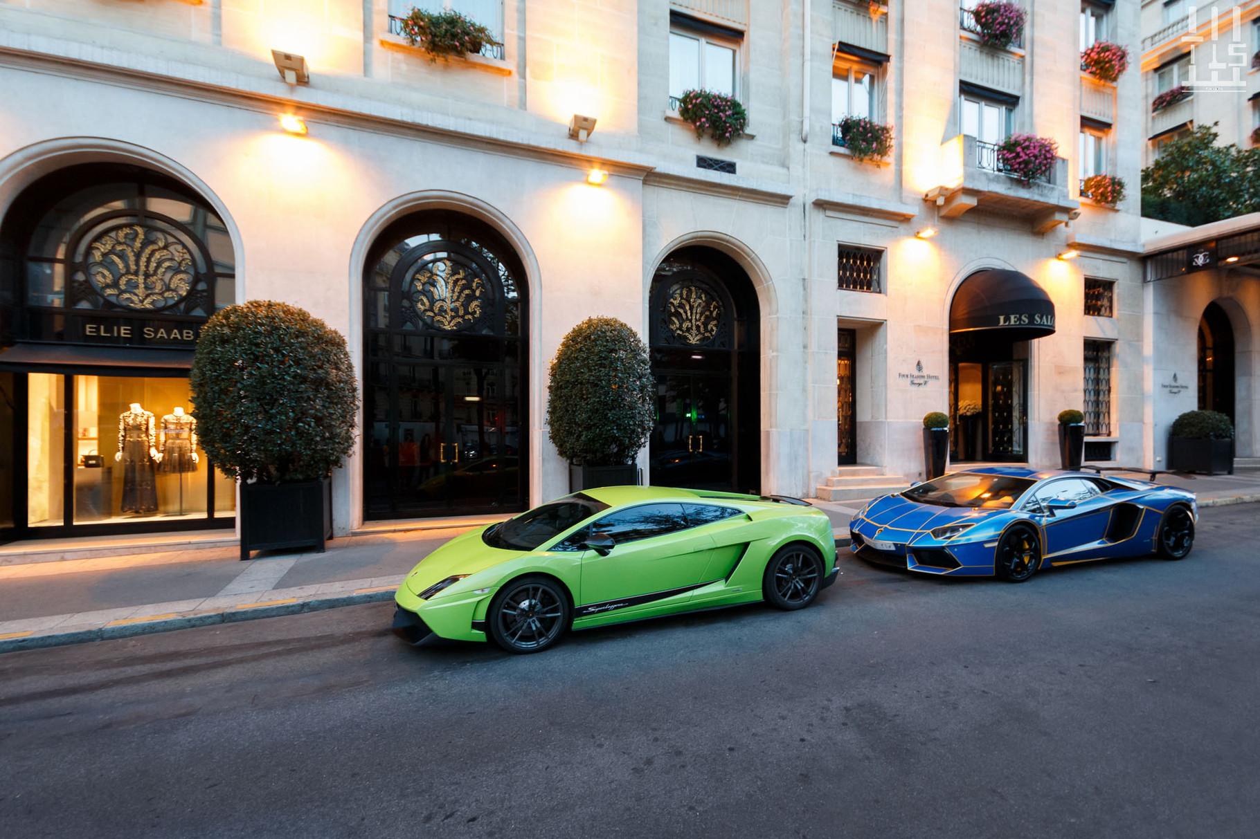 Lamborghini Gallardo LP570-4 Superleggera & Lamborghini Aventador, avenue George V