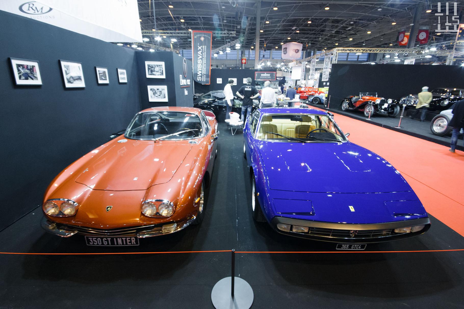 Eleven Cars, un petit garage Parisien qui commence à se faire un nom, expose une Lamborghini 350 GT et une Ferrari 365 GTC/4 dans de magnifiques teintes., Rétromobile 2016.