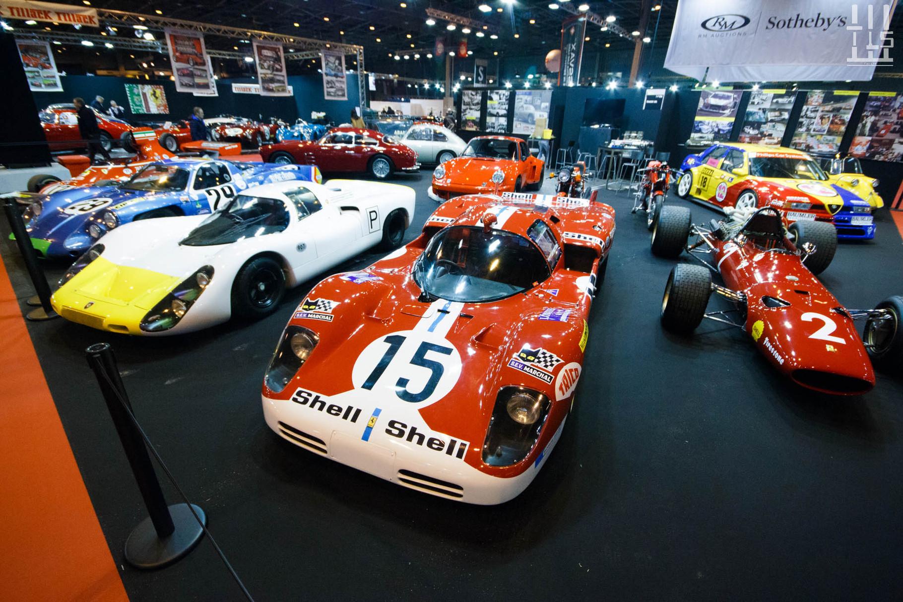 Le stand Tradex est rempli de merveilles : Porsche 907 031, Ferrari 512S 1016, Ferrari 312 F1 007, Alpine A220, ... Décidément cette cuvée 2016 de Rétromobile est un très bon cru.