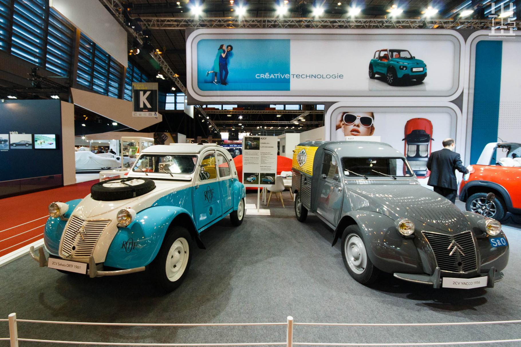 Chez Citroën, on a sorti les 2cv : Sahara et Fourgonnette - Rétromobile 2016.