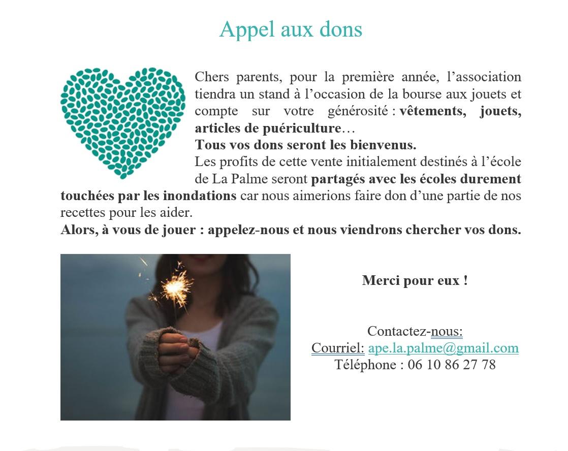 Appel aux dons