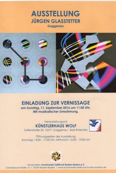 Ausstellung Jürgen Glasstetter  Vernissage am Sonntag 11. September 2016 um 11:00 Uhr