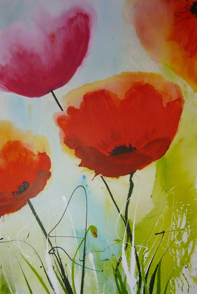 Faszination Mohn 1, Acryl auf Leinwand, 80 x 120 cm