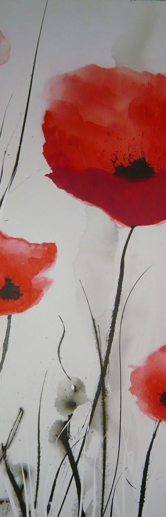 Faszination Mohn 2, Acryl auf Leinwand, 50 x 150 cm