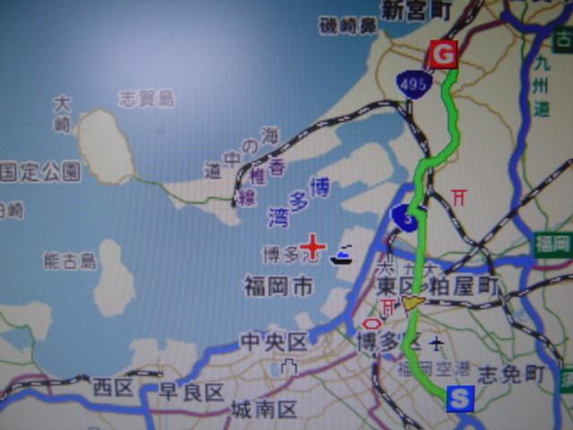 今回のサイクリングコース(緑線)、往復約36km