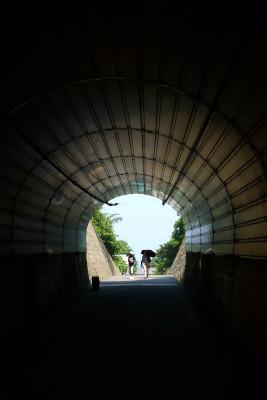 おおっ、オアシス、トンネルに助けられ酷暑の散歩も終了