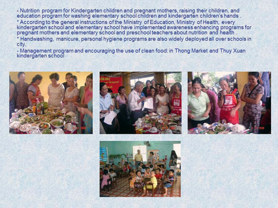 幼稚園児や妊婦のための栄養プログラム