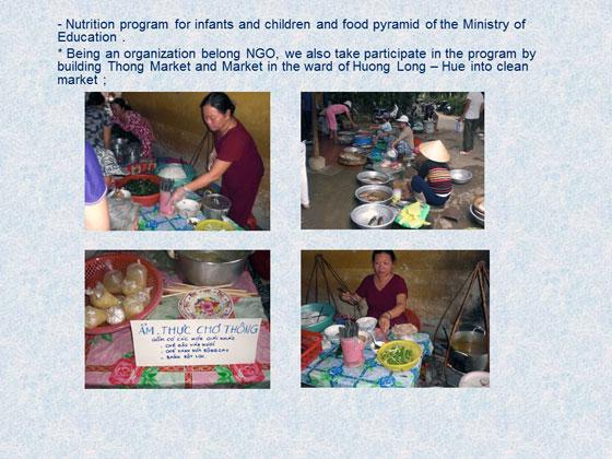 幼児や子どもたちのための栄養プログラム。NGOとして市場の衛生管理にも関わっている