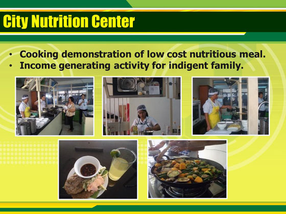 栄養センターでは安価で栄養のある料理のデモンストレーションや貧困家庭の収入活動を行っている