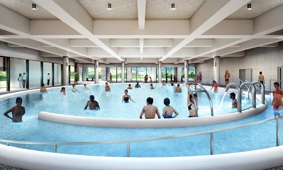 温泉療法(水中運動)の専用プールを完備