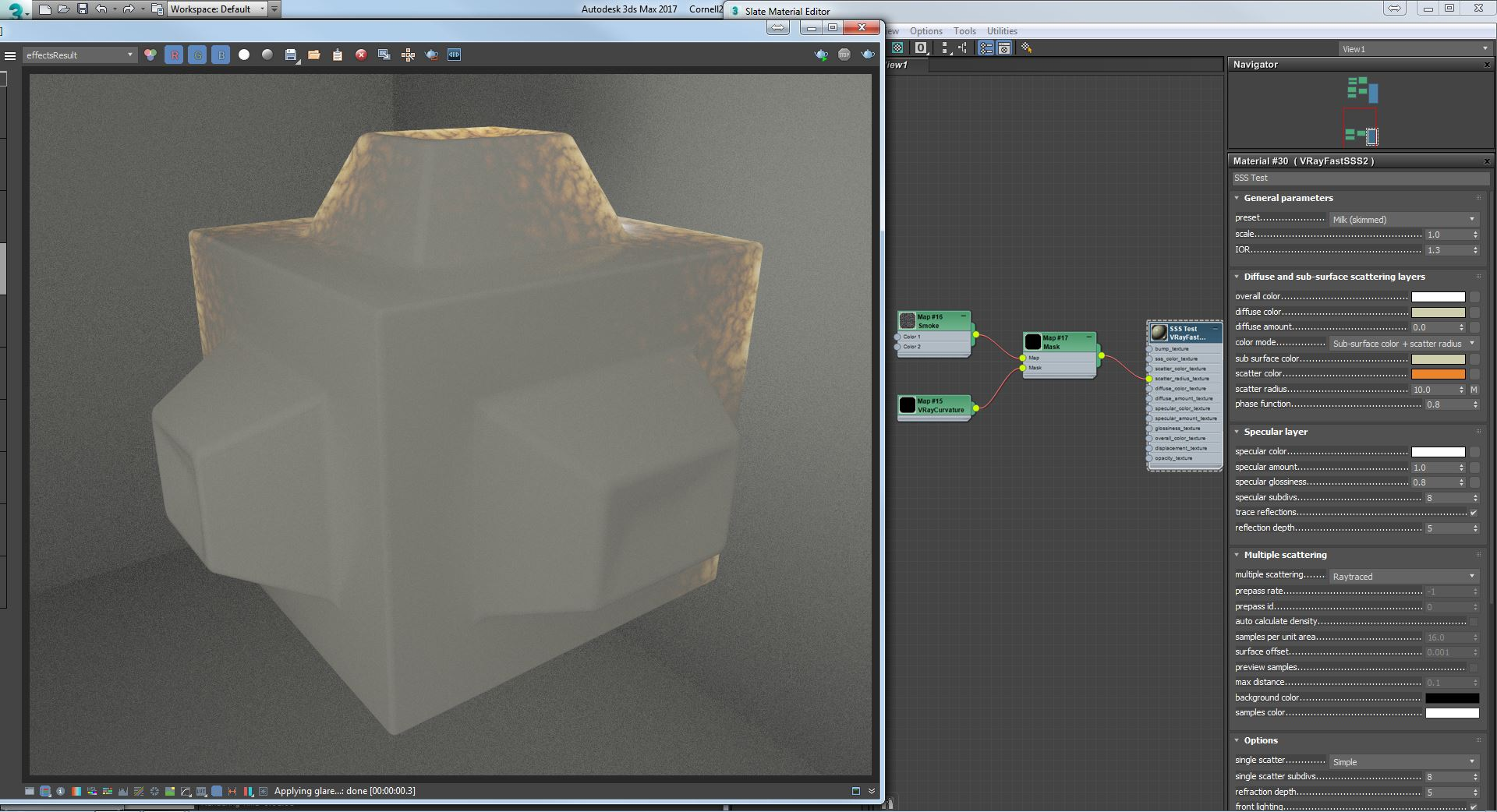 Vray Curvature used as Radius value in a SSS Material