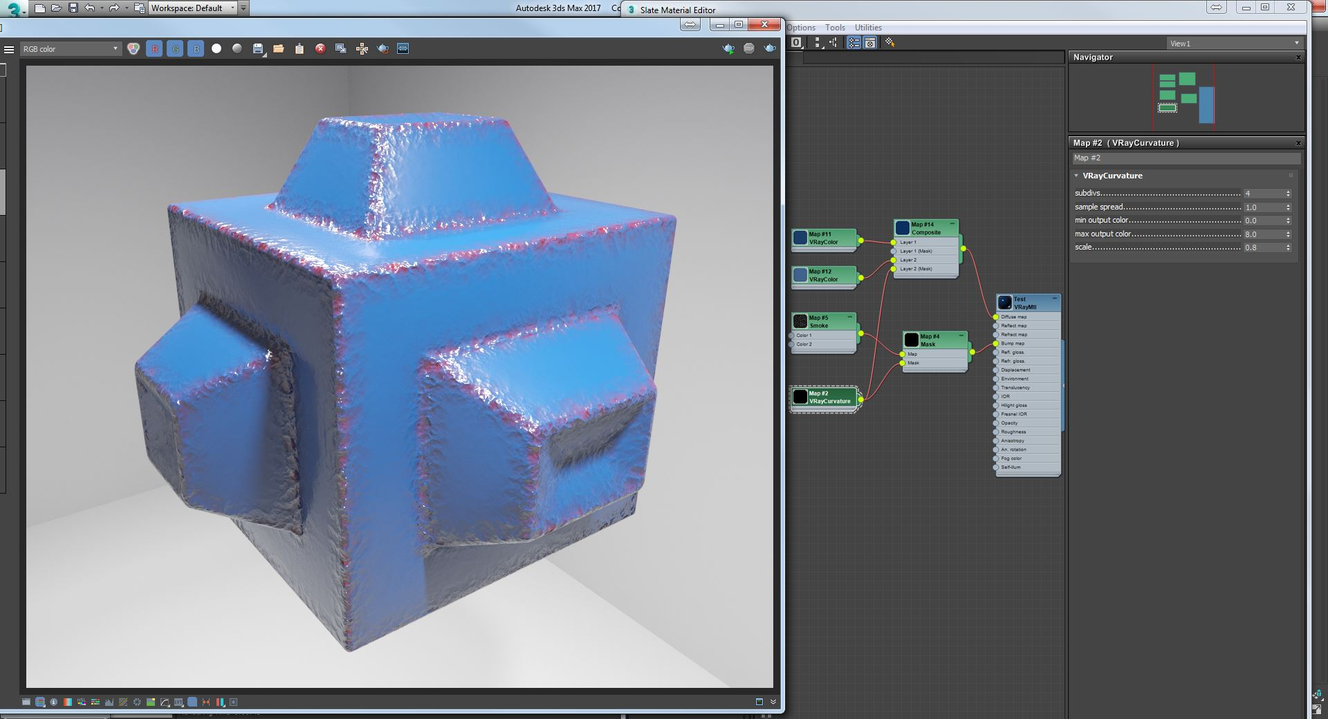 Vray Curvature used as Mask for adding some Red Color in the Diffuse