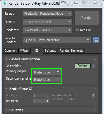 Vray GI Settings