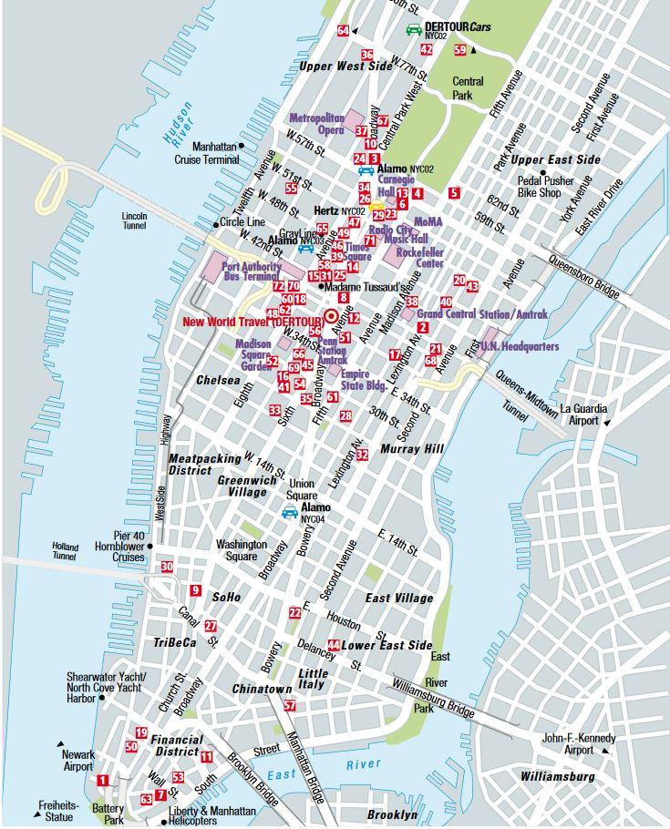 stadtplan new york mit hotels rundreisen mit baden. Black Bedroom Furniture Sets. Home Design Ideas