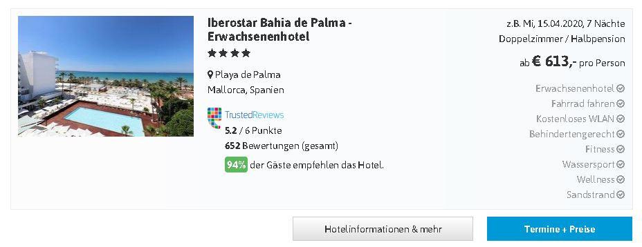 Urlaub Mallorca im Erwachsenenhotel Iberostar Bahia de Palma adults only Hotel an der Playa de Palma  hier mit Flug
