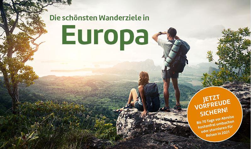 Wanderurlaub 2021 Wanderreisen in Europa, im Baltikum, Portugal, Italien, Korsika;  Wandern auf Mallorca - unterschiedl. Stornobedingungen