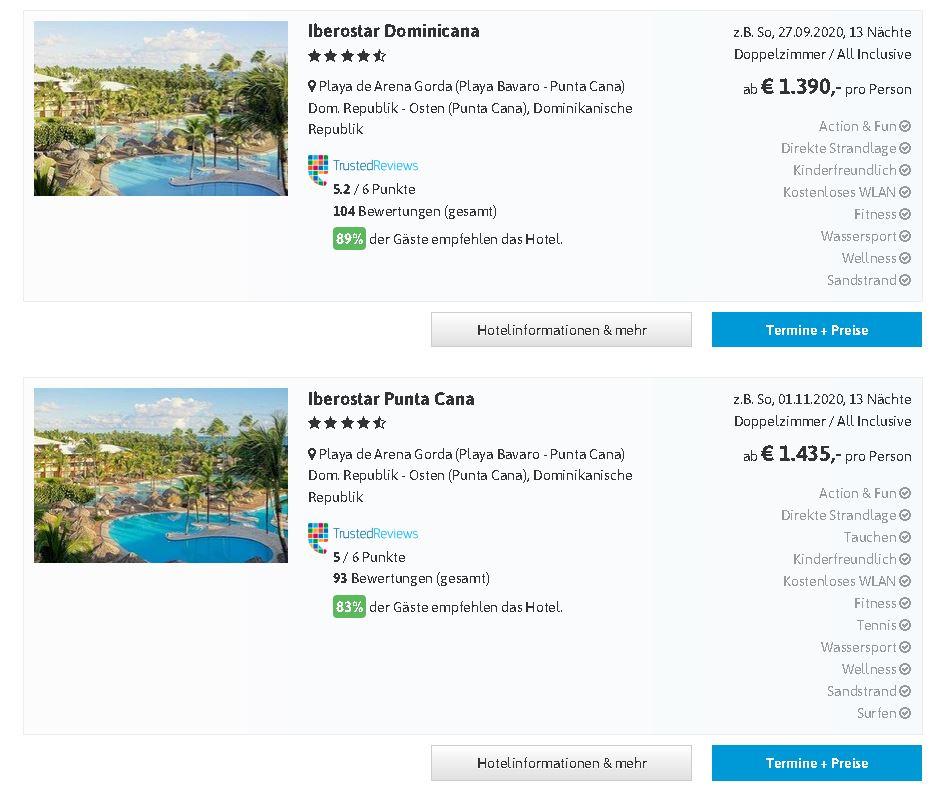 Urlaubsreisen Dominikanische Republik Herbstferien 2020 mit Hotel von Iberostar Punta Cana, Playa Dorada, Playa Bavaro, Samana last minute Urlaub all inclusive hier günstig buchen