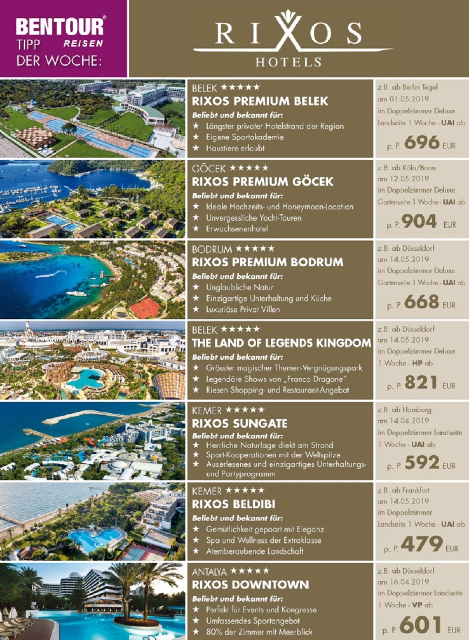 Luxusurlaub Türkei 2019 buchen Luxushotel Rixos Beleg, Rixos Premium Bodrum, Rixos Belek The Land of Legends Kingdom, Rixos Türkeireise Rixos Beldibi Kemer,Antalya Urlaub 2019