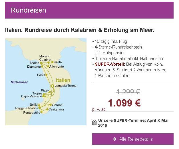 Italien-Rundreise mit Berge & Meer 2 Wochen Reisen nur 1 Woche zahlen ab 1.099,- € incl. Rundreise Hotels mit Halbpension u Flug im April Mai 2019