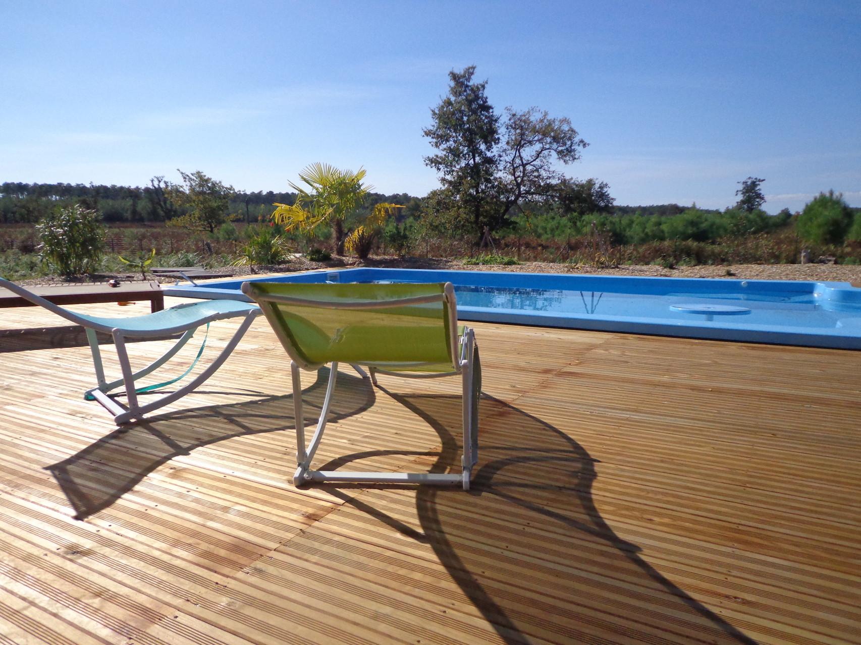 Terrasse et farniente à la Grange du Coulin, maison d'hôtes à Onesse et Laharie dans les Landes, Gîtes de France Landes 3 épis