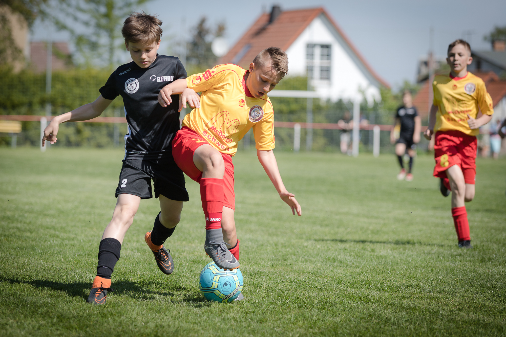 Spielszene 1. Ostthüringencup U12 - Mecklenburg / Schwerin gegen VfB Auerbach in Pölzig 050518