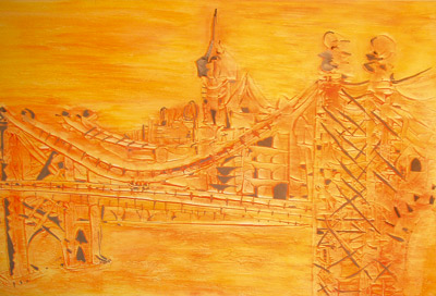 Brooklyn Bridge 50x70 Spachteltechnik auf Leinwand