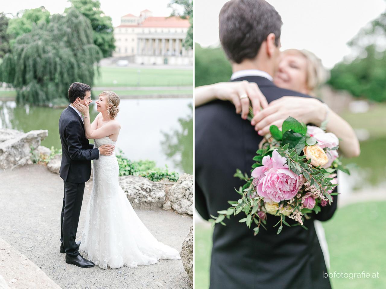 Hochzeitsfotograf, Hochzeitsfotograf Burgenland, Hochzeit Schloss Esterhazy, Hochzeit Orangerie Schloss Esterhazy, Brautpaar, Paarshooting, Brautstrauß, Pfingstrosen, Hochzeitslocation Burgenland, b&b fotografie