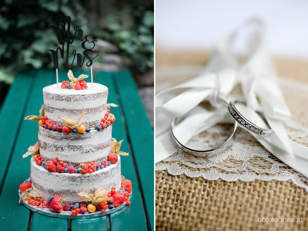 Hochzeitsfotograf, Hochzeitsfotograf Wien, Hochzeitslocation Wien, Hochzeitstorte, Nakedcake, Ringe, Hochzeitslocation Heuriger Wolf, Hochzeit in Neustift, Weinberge, b&b fotografie