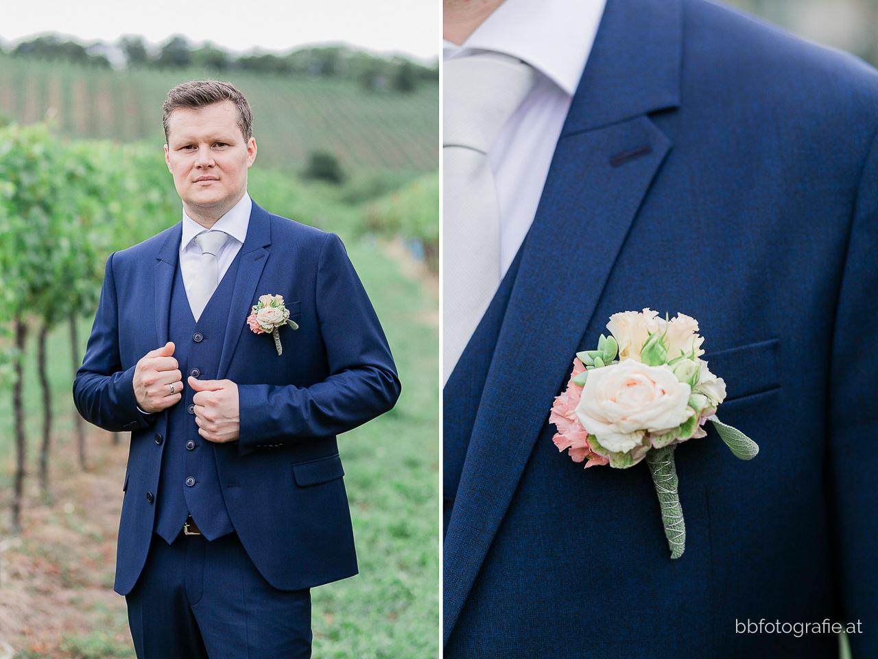 Hochzeitsfotograf, Hochzeitsfotograf Wien, Hochzeitslocation Wien, Bräutigam, Hochzeitslocation Heuriger Wolf, Hochzeit in Neustift, Weinberge, b&b fotografie