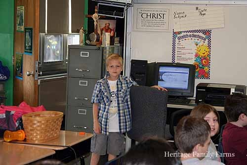 Jace goes to a Chicago classroom to talk about his life on the farm