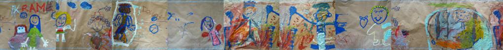 Tekenen met acrylverf op papier om een muurschildering te ontwerpen, les  1,   80cm x 1000 cm